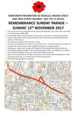 Raunds Remembrance Sunday Parade - Notice of Road Closure