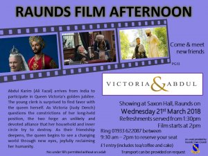 Raunds Film Afternoon - Victoria and Abdul