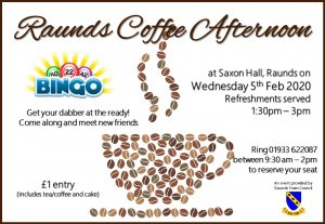 Raunds Coffee Afternoon - BINGO