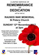 Raunds Remembrance Sunday Parade
