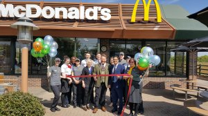 Raunds Mayor opens the newly re-furbished McDonalds